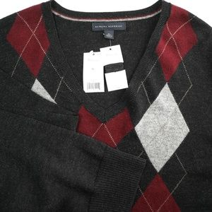 Banana Republic Merino Wool Argyle V-Neck Sweater